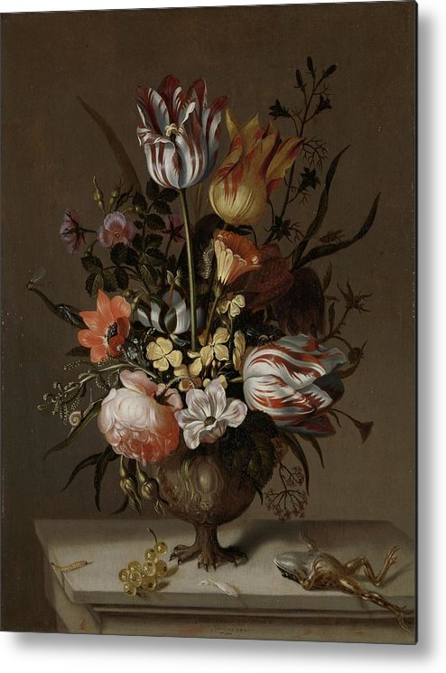 Still Life With A Vase Of Flowers And A Dead Frog 1634 Metal Print