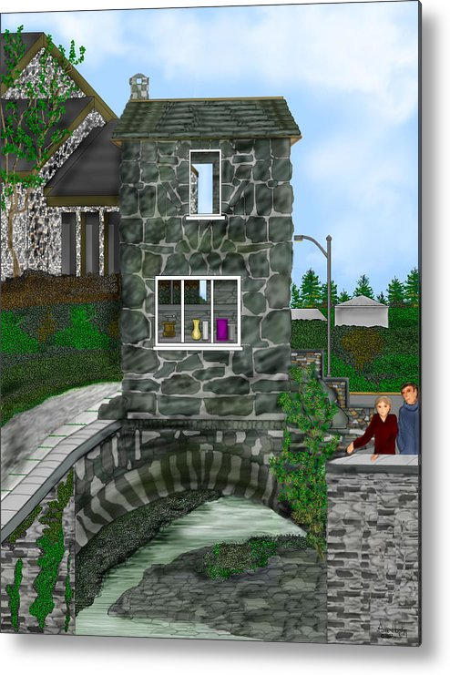Landscape Metal Print featuring the painting Stone Bridge House In The Uk by Anne Norskog