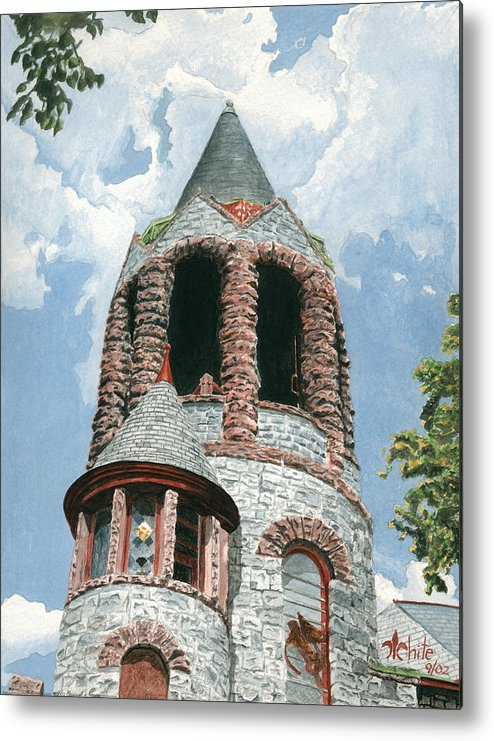 Church Metal Print featuring the painting Stone Church Bell Tower by Dominic White