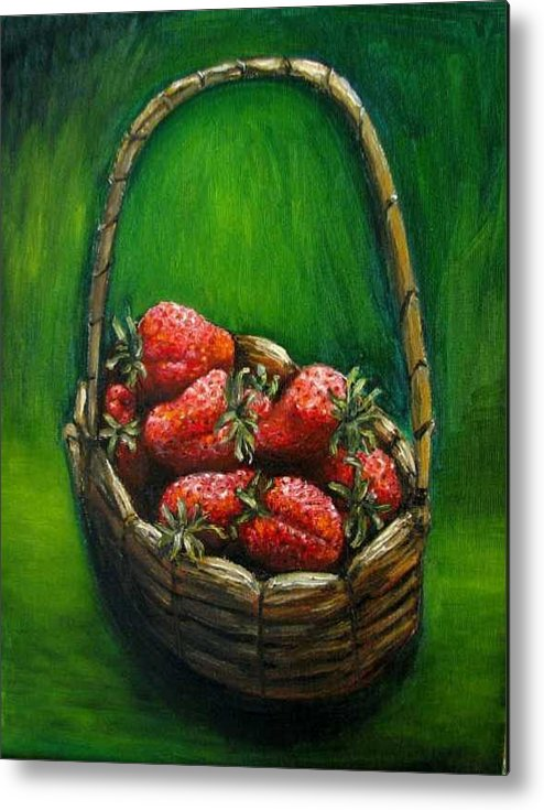 Strawberries Metal Print featuring the painting Strawberries Contemporary Oil Painting by Natalja Picugina