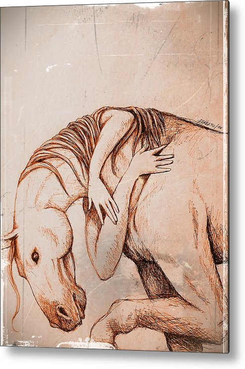Strength And Affection Metal Print featuring the digital art Strength And Affection by Paulo Zerbato