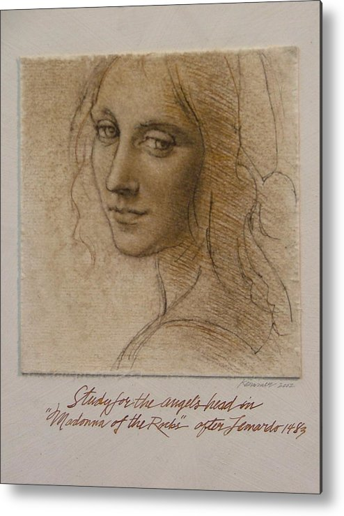 Female Figure Metal Print featuring the painting Study Madona Of The Rocks After Leonardo by Gary Kaemmer