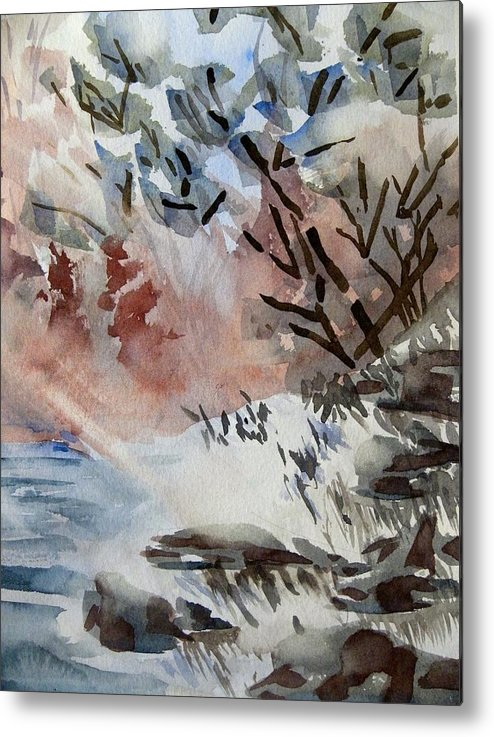 Watercolor On Paper Metal Print featuring the painting Sunlight On The River by Patricia Bigelow