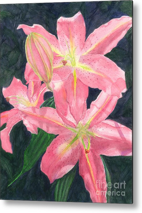 Floral Metal Print featuring the painting Sunlit Lilies by Lynn Quinn