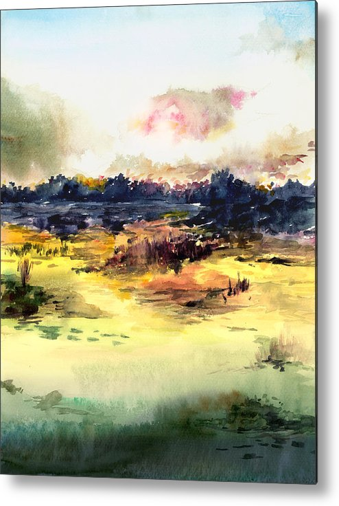 Landscape Water Color Sky Sunrise Water Watercolor Digital Mixed Media Metal Print featuring the painting Sunrise by Anil Nene
