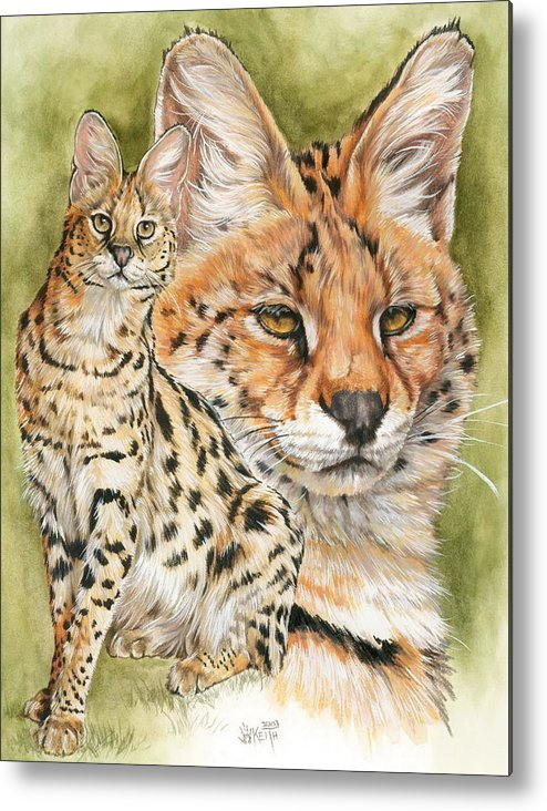 Serval Metal Print featuring the mixed media Tempo by Barbara Keith