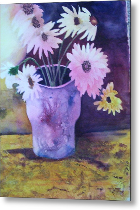 Floral Metal Print featuring the painting Textured Vase by Audrey Bunchkowski