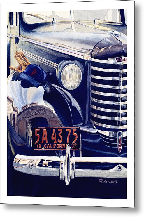 1937 Olds Oldsmobile Car Automobile Baseball Mitt Hat California Portland Beavers Christmas Story Metal Print featuring the painting Thanks Pop by Mike Hill