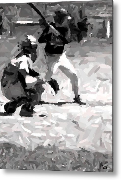 Digital Metal Print featuring the digital art The Batter by Maria Watt