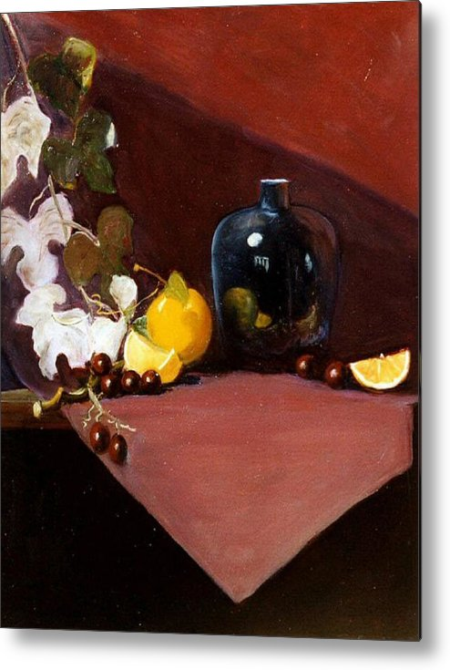 Still Life Metal Print featuring the painting The Black Vase by Jeanene Stein