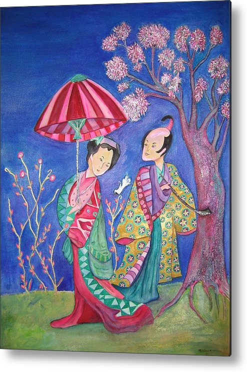 Umbrella Metal Print featuring the painting The Courtship by Marlene Robbins