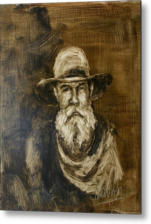 Cowboy Metal Print featuring the painting The Cowboy by Keith Nolan