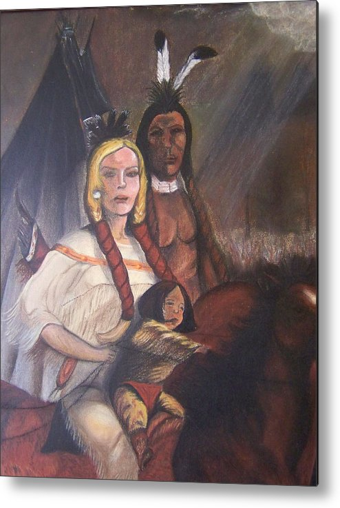 Artwork Metal Print featuring the painting The Cynthia Ann Parker Family by Laurie Kidd