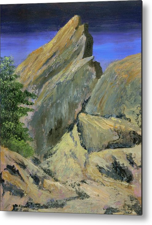 Mountains Metal Print featuring the painting The Day The Mountains Melted by Rhonda Myers