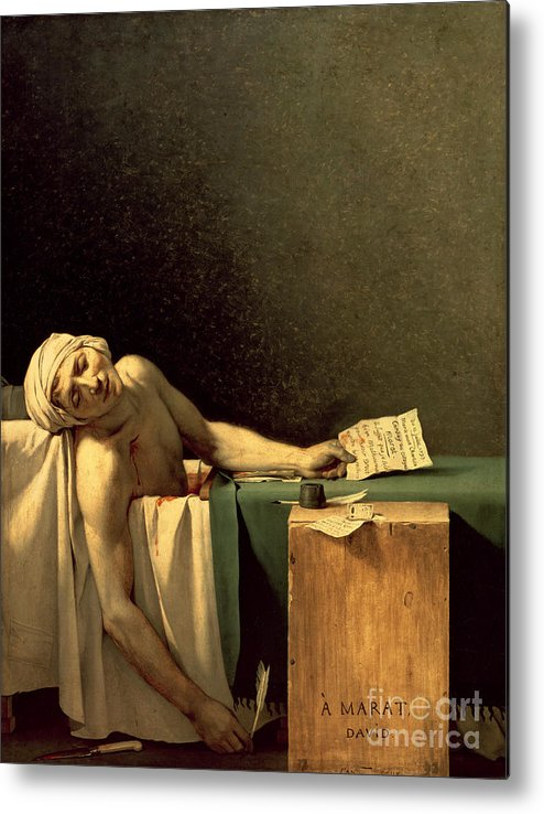 The Metal Print featuring the painting The Death Of Marat by Jacques Louis David