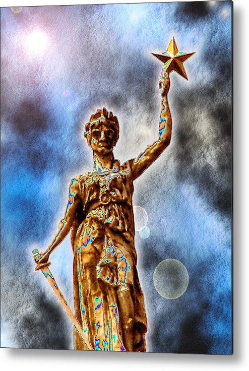 Texas Metal Print featuring the digital art The Goddess Of Liberty - Texas State Capitol by Wendy J St Christopher