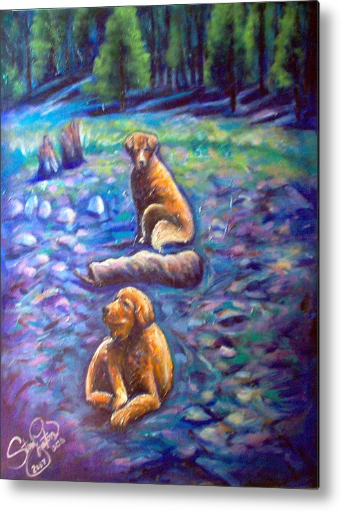 Animals Metal Print featuring the painting The Golden's by Steve Lawton