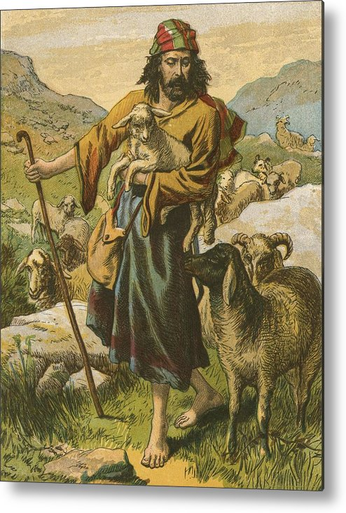 Jesus Christ; Bible; Life; Lessons; Good Shepherd Metal Print featuring the painting The Good Shepherd by English School