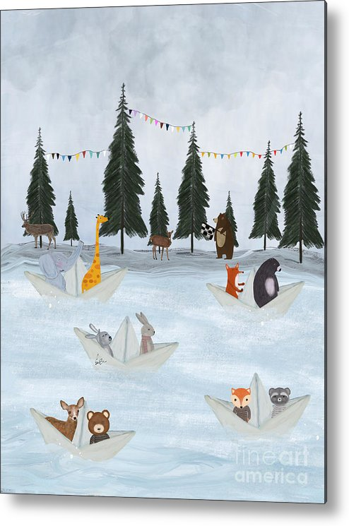 Woodland Metal Print featuring the painting The Great Paper Boat Race by Bri Buckley