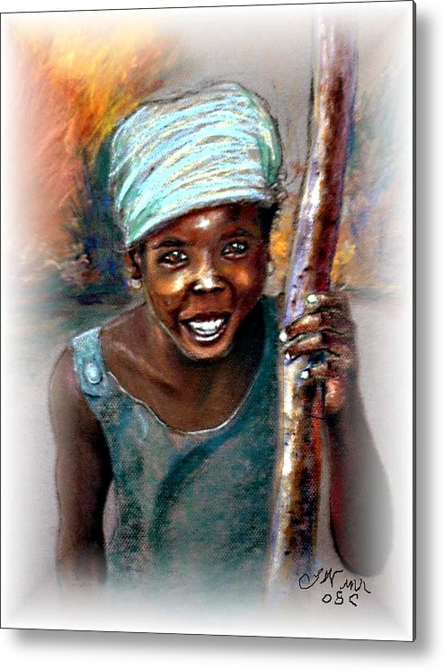Children Metal Print featuring the pastel The Hope Of Africa by Tommy Winn