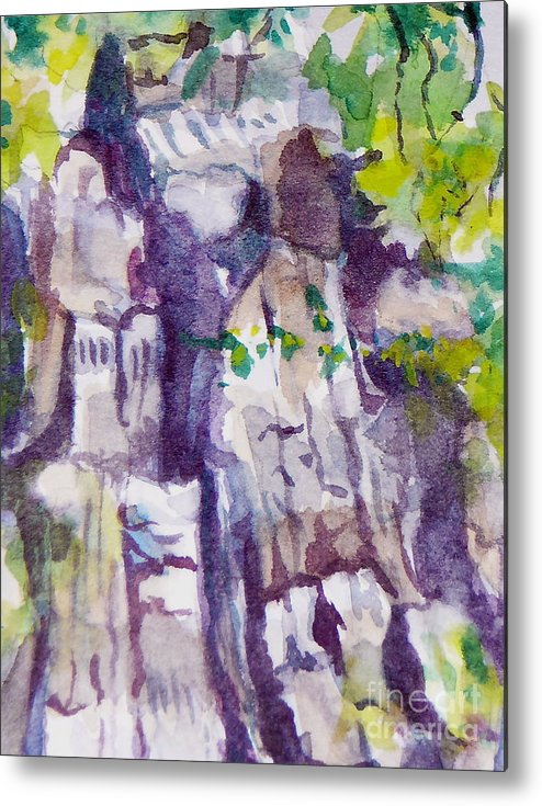 Purple Metal Print featuring the painting The Little Climbing Wall by Jan Bennicoff