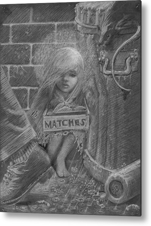 Hans Christian Andersen Metal Print featuring the drawing The Little Matchseller by David Dozier