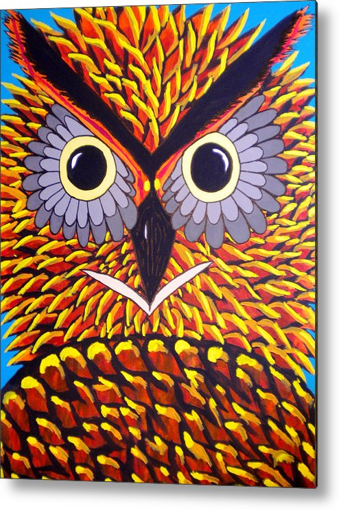 Owl Metal Print featuring the painting The Owl Stare by Nick Reaves