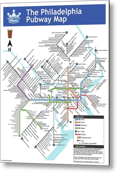 Beer Metal Print featuring the digital art The Philadelphia Pubway Map by Unquestionable Taste