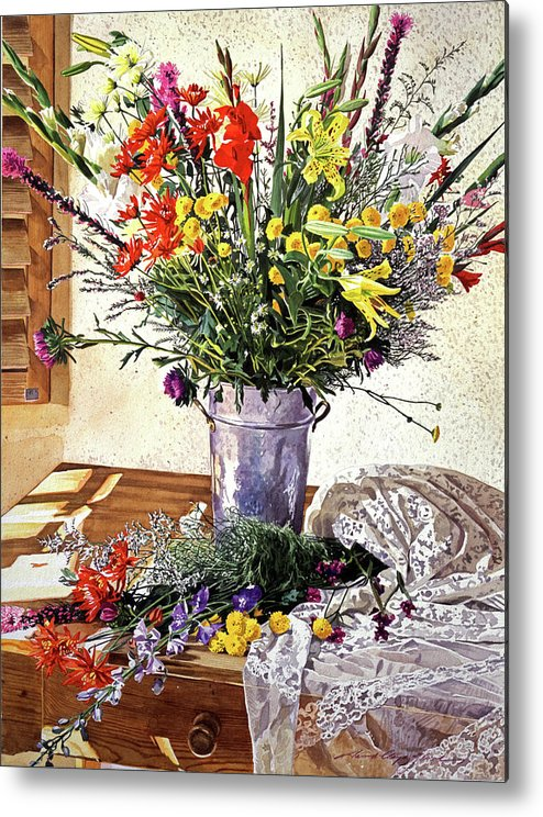 Still Life Metal Print featuring the painting The Summer Room by David Lloyd Glover