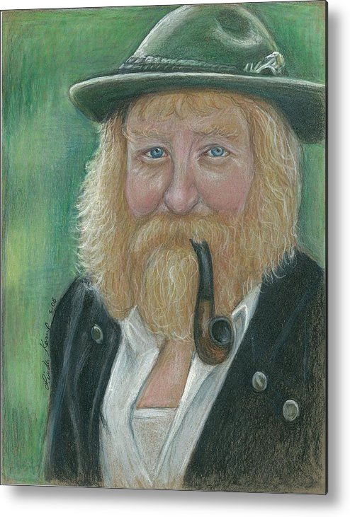 Man Metal Print featuring the drawing The Swiss Farmer by Linda Nielsen