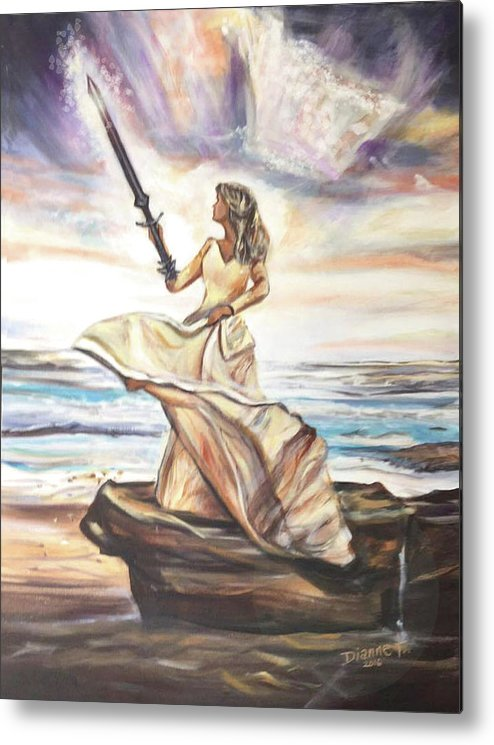 She Stands On A Solid Rock With Her Sword Ready. Metal Print featuring the painting The Sword And The Bride by Dianne Tylski
