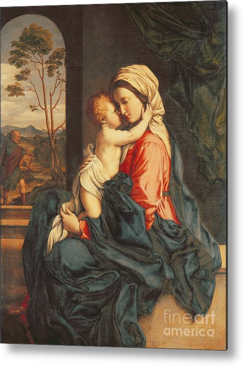 The Metal Print featuring the painting The Virgin And Child Embracing by Giovanni Battista Salvi