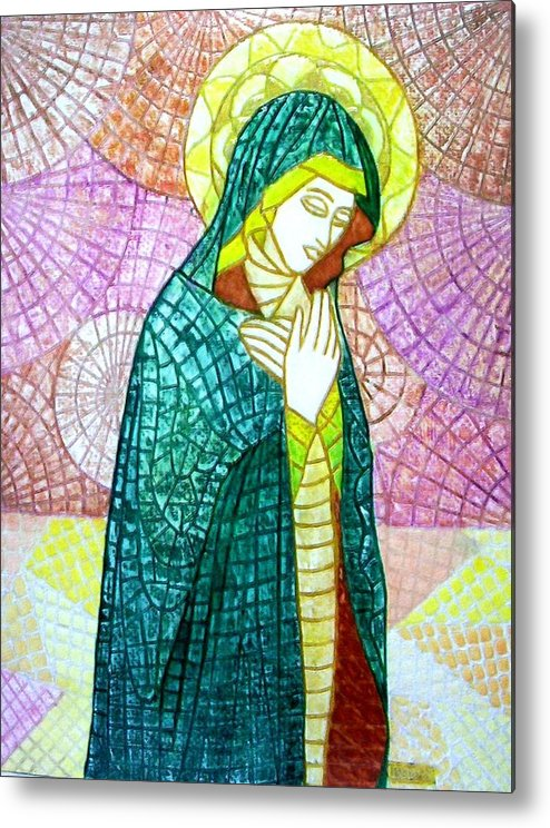Metal Print featuring the mixed media The Virgin by Victor Madero