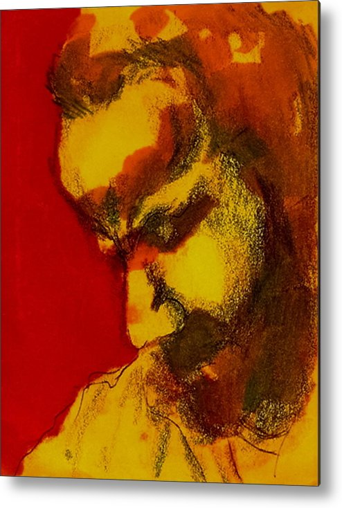 Man Metal Print featuring the drawing Thinking Man by Dannielle Murphy