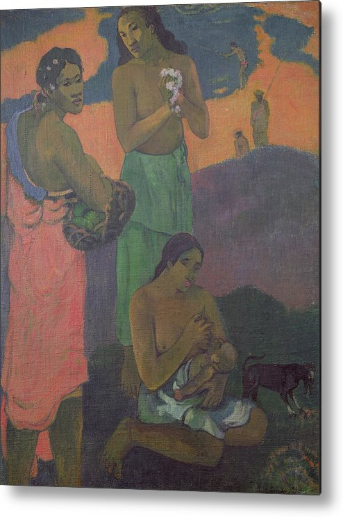 Maternity Metal Print featuring the painting Three Women On The Seashore by Paul Gauguin