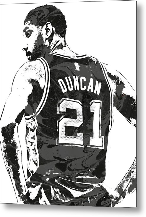 Tim Duncan Metal Print featuring the mixed media Tim Duncan San Antonio Spurs Pixel Art 2 by Joe Hamilton