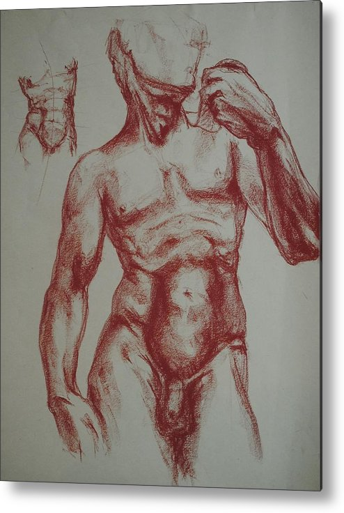 Metal Print featuring the drawing Torso Of Michelangelo  David by Chris Riley