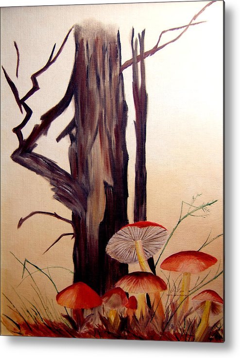 Tree Metal Print featuring the print Tree And Mushrooms by JoLyn Holladay