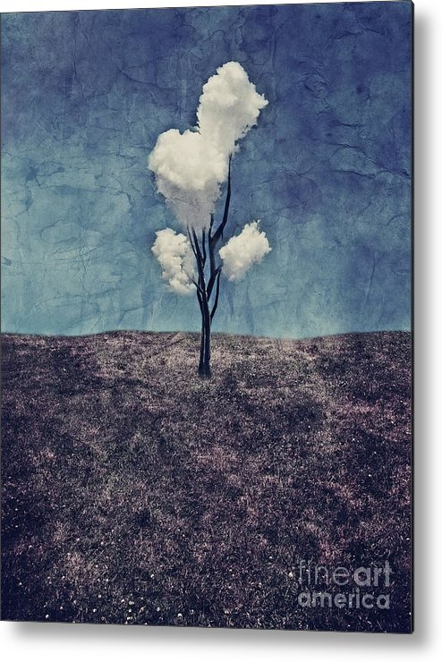 Tree Metal Print featuring the digital art Tree Clouds 01d2 by Aimelle