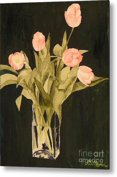Tulips Metal Print featuring the painting Tulips On Velvet by Louise Magno