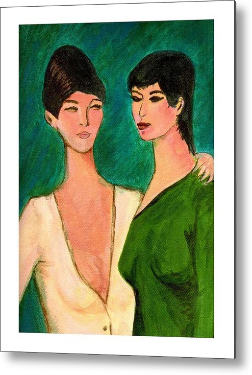 Two Sisters Metal Print featuring the painting Two Sisters by Asha Sudhaker Shenoy