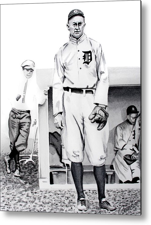 Baseball Metal Print featuring the painting Ty Cobb by Ferrel Cordle
