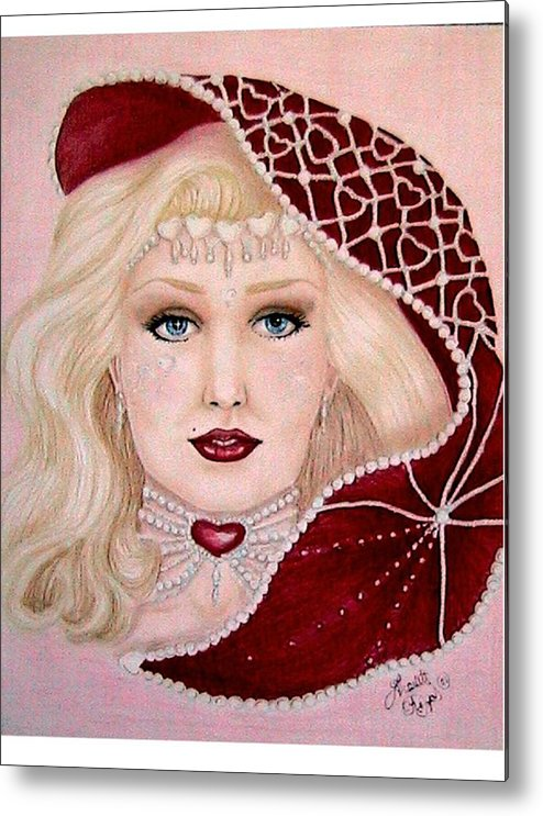 Portrait Metal Print featuring the drawing Valentine by Scarlett Royal