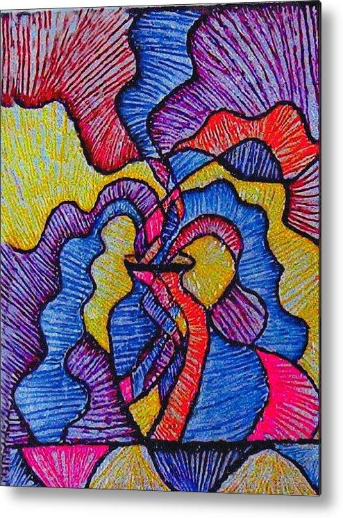 Vivid Colors Metal Print featuring the painting Vase Of Air by Brenda Adams