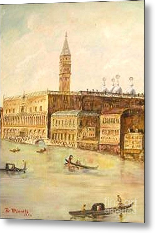 Citiscape Metal Print featuring the painting Venice From Grand Canal by Nicholas Minniti
