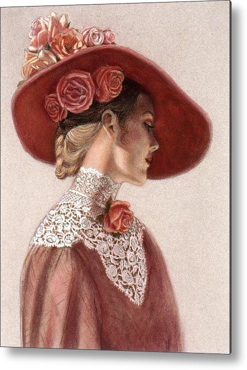 Victorian Lady Metal Print featuring the painting Victorian Lady In A Rose Hat by Sue Halstenberg
