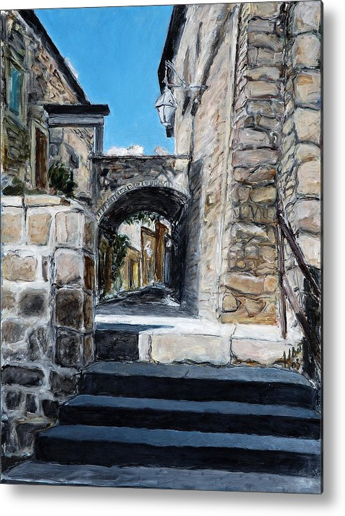 Italy Town Archway Steps Indigo Walls Blue Metal Print featuring the painting Viterbo Archway by Joan De Bot