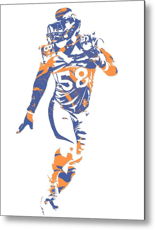 Von Miller Denver Broncos Pixel Art 10 Metal Print by Joe Hamilton