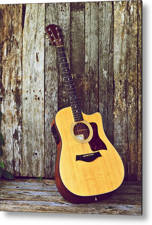 Acoustic Guitar Metal Print featuring the photograph Waiting. by Kelly Nelson