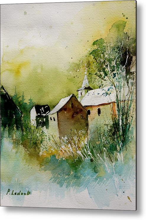 Landscape Metal Print featuring the painting Watercolor Sosoye by Pol Ledent